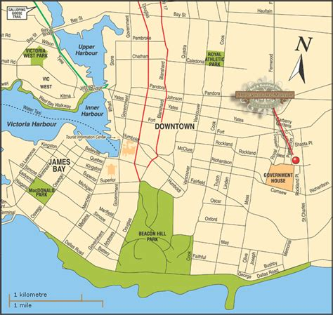 Victoria Map - Abbeymoore Bed and Breakfasts in Victoria