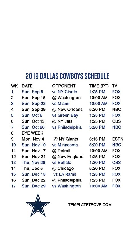 2019-2020 Dallas Cowboys Lock Screen Schedule for iPhone 6