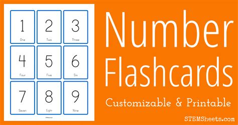 Customizable Number Flashcards   STEM Sheets