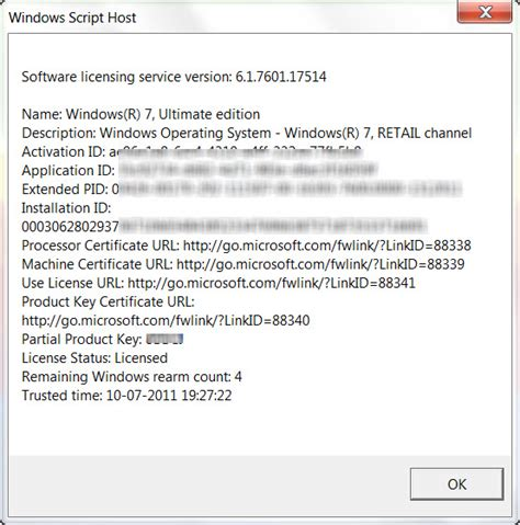 View Licensing Status and Activation ID of your Windows OS