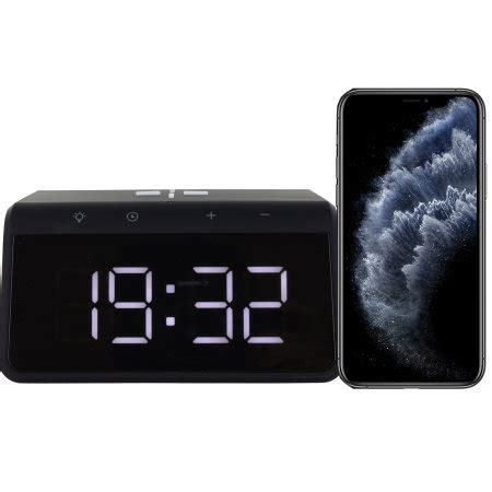 KSIX iPhone 11 Alarm Clock w Fast Charge Wireless Charger